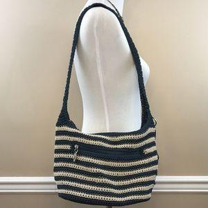 The Sak Blue & Cream Striped Crochet Hobo Bag